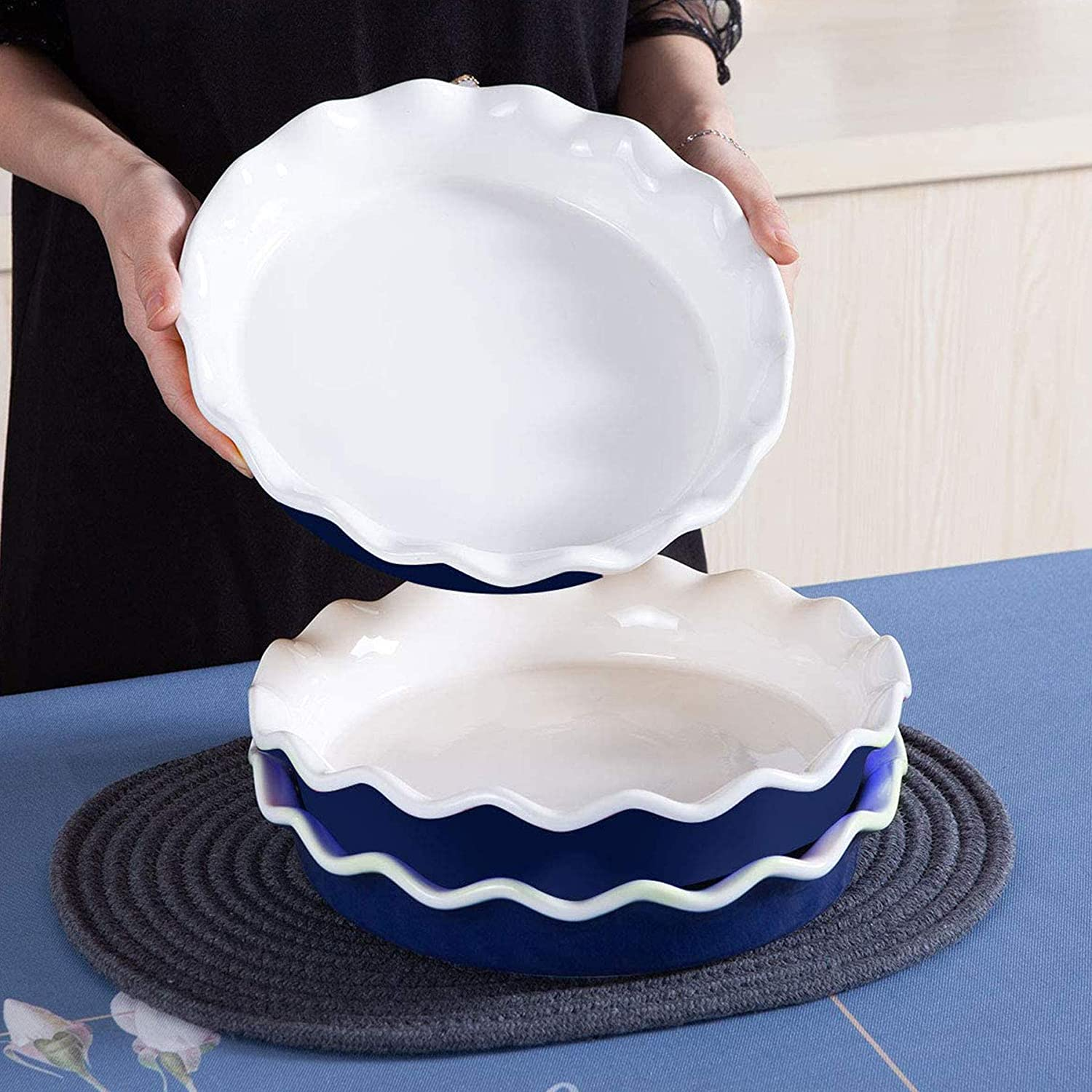 Round Quiche Pan Baking Dish for Pot Pies Cake Pizza Dessert 10 inch Pie Dish Pie Plates SIDUCAL Ceramic Pie Pan Classic Blue
