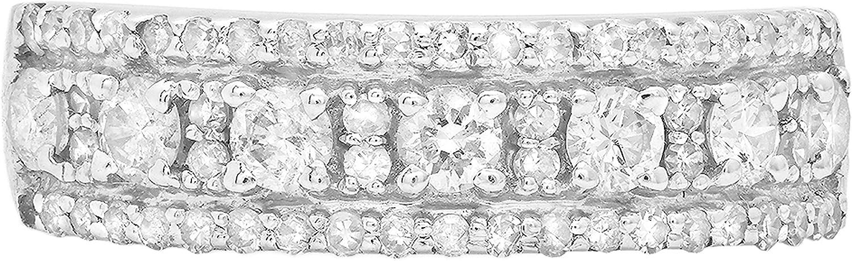 Dazzlingrock Collection 14K Round Gemstone & White Diamond Ladies Anniversary Wedding Band, White Gold
