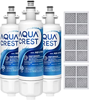 AQUACREST ADQ36006101 Refrigerator Water Filter and Air Filter, Replacement for LG LT700P, Kenmore 9690, 46-9690, ADQ36006101, ADQ36006102 and LT120F, 3 Combo (package may vary)