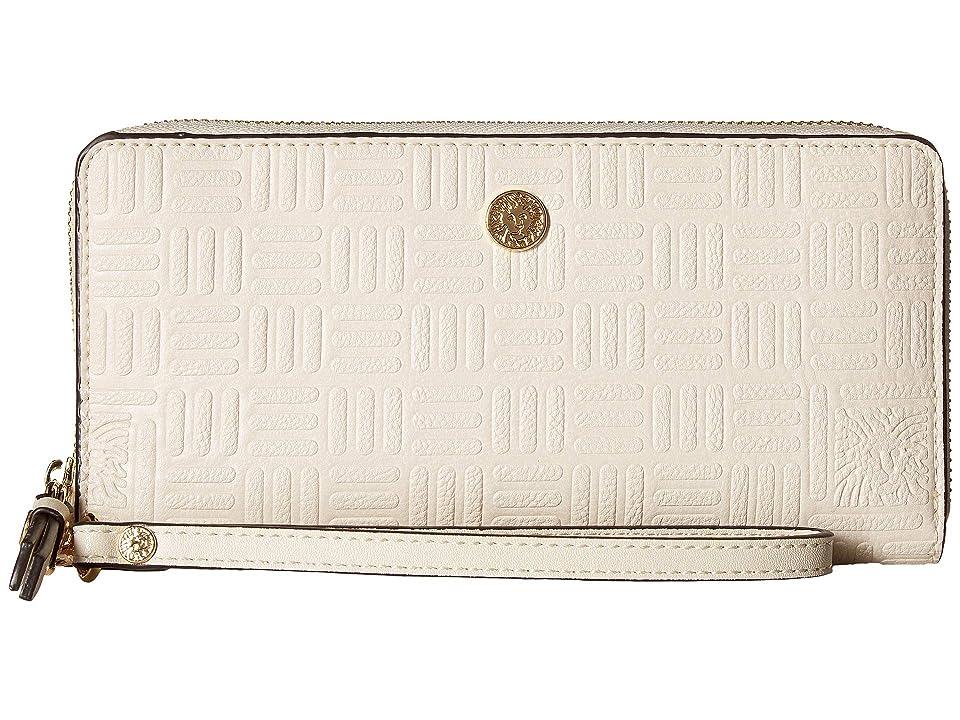 Anne Klein Emboss Lion Logo Slim Zip Around Wristlet (Oyster) Handbags