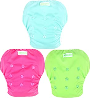 Wegreeco Baby & Toddler Snap One Size Adjustable Reusable Baby Swim Diaper (Fresh,Large,3 Pack)