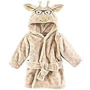 Hudson Baby Unisex Baby Plush Animal Face Robe, Nerdy Giraffe, One Size, 0-9 Months