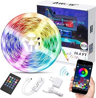 Bluetooth LED Streifen, Musik LED Strip, Smart LED Streifen, AWOW 5050 5M 150 LEDS Wasserdicht IP65 RGB LED Stripes mit Sm...