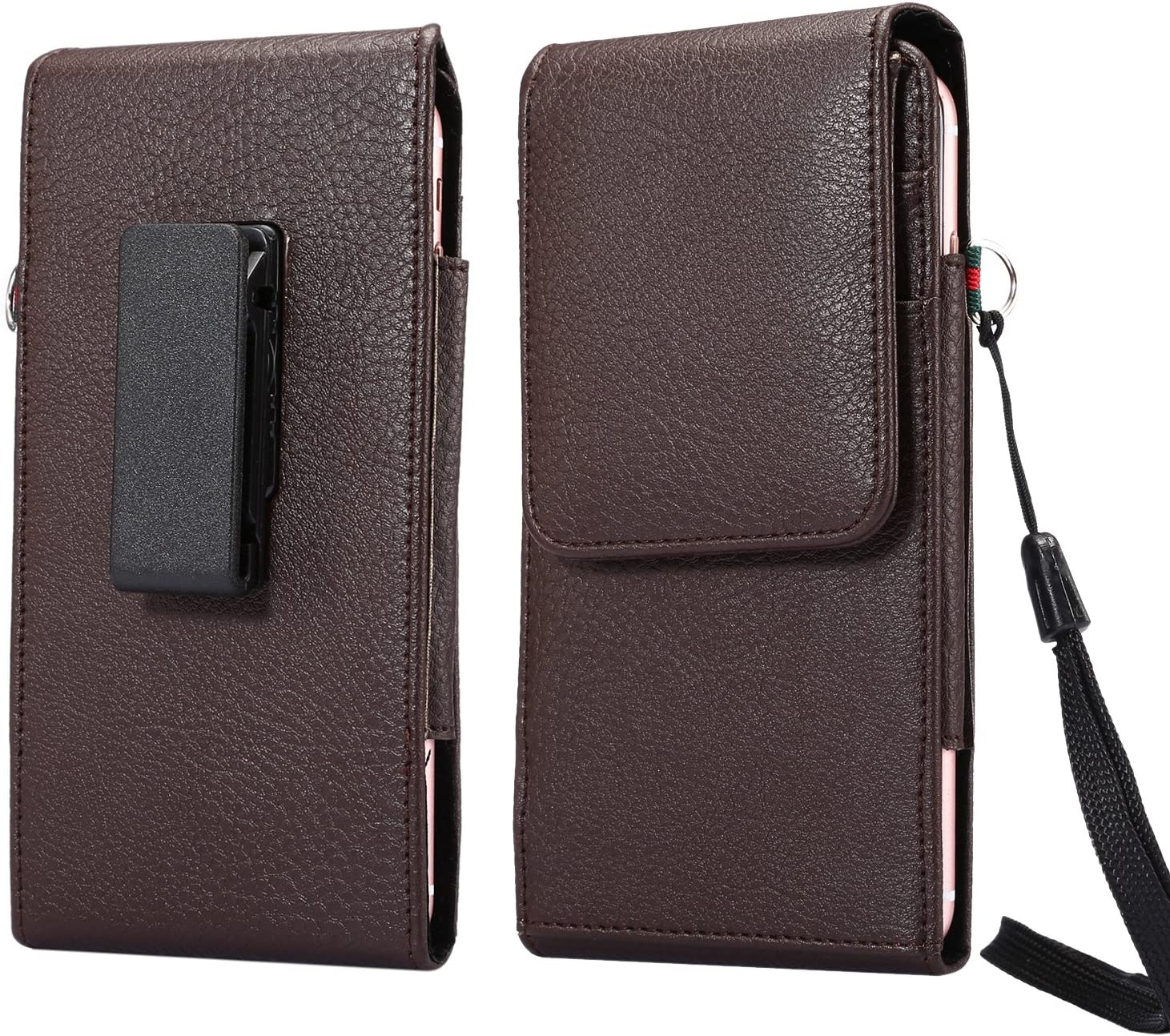 Workout Faux Leather Card Holder Swivel Belt Clip Holster for Samsung Galaxy Note 10+ Plus / A10 / A20 / A50 / LG Stylo 5 / Motorola Moto G7 Power/Xiaomi Mi 9T / A2 / Razer Phone 2 / BlU G9 (Brown)