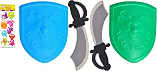TheBDStore 2 Sets Best Green Blue Foam Play Costume Pirate Knight Cutlass Cosplay Shield and Sword Unique Last Minute Valentine Day Birthday Gift Idea for Boys Kids Toddlers