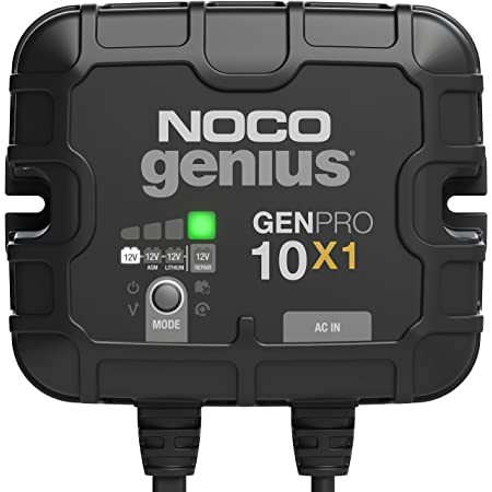 NOCO Genius GENPRO10X1, 1-Bank, 10-Amp (10-Amp Per Bank) Fully-Automatic Smart Marine Charger, 12V Onboard Battery Charger, Battery Maintainer And Battery Desulfator With Temperature Compensation