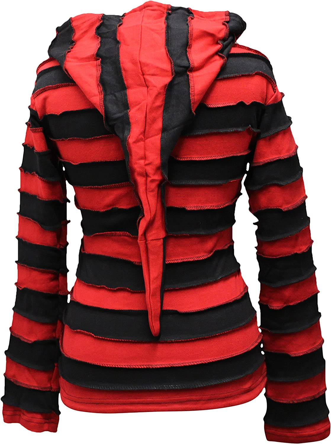 Women Outstitched Stripy Rib Hoodie