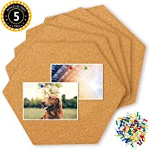 HANGNUO 5 Pack Cork Tiles Self Adhesive with 80 PCS Pushpins, Mini Wall Hexagon Bulletin Boards for Pictures, Notes, Home Decor and Office Memo