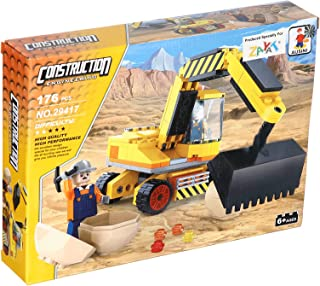 Ausini Excavator Construction Toy For Kids, 176 Pieces - Yellow and Black