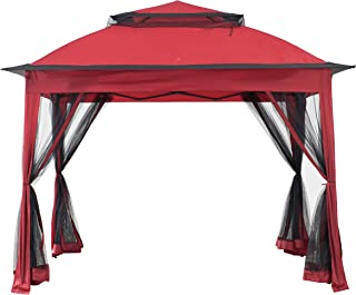 Amazon Basics Outdoor Patio Garden Pop Up Gazebo with Mosquito Net - Terra Cotta Red