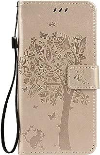 OMATENTI iPhone 7 Plus/iPhone 8 Plus ケース 手帳型ケース ウォレット型 カード収納 ストラップ付き 高級感PUレザー 押し花木柄 落下防止 財布型 カバー iPhone 7 Plus/iPhone 8 Plus 用 Case Cover, 白