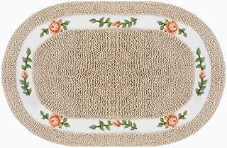 Lewondr Floral Door Mat, Non Slip Absorbent Soft Microfiber Welcome Doormat, Country Style Rose Design Oval Floor Mat Bath Rug for Entryway Bathroom 20