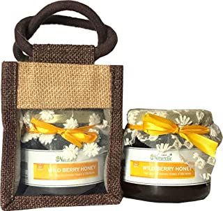 Farm Naturelle-Aesthetically Designed Jute Gift Bag With Pure Raw Natural Unheated Unprocessed Forest Wild Berry Sidr Flower Honey-450 Gms-Health Gift Item Pack