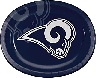 """Creative Converting Los Angeles Rams Oval Plates, 10"""" x 12"""", Blue"""