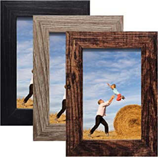 SESEAT 4x6 Picture Frame 3 Packs Distressed Farmhouse Frame with High Definition Glass Display for Tabletop or Wall Hanging