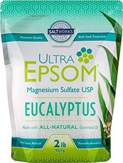 SaltWorks Ultra Epsom Premium Scented Epsom Bath Salt, 2 Lb Translucent to White Crystals 2 Pound Bag Eucalyptus 32 Ounce