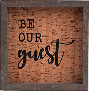NIKKY HOME Be Our Guest Farmhouse Wooden Framed Decorative Wall Art Sign 7.87 x 1.57 x 7.87 Inches, Grey