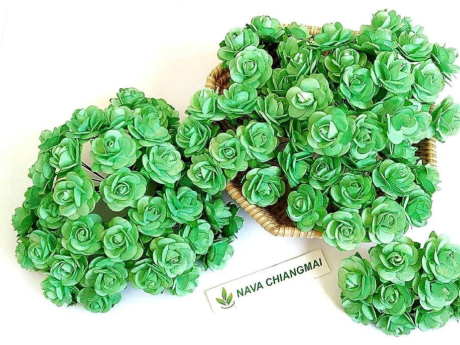 NAVA CHIANGMAI 100 Pcs Mini Rose 15-20 mm Mint Green Mulberry Paper Flowers Handmade Craft Project Cardmaking Floral Valentine