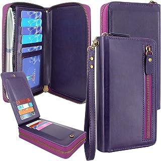 Lacass Dual Zipper Leather Wallet Wristlets Clutch Handbag Purse with Card Slots Money Pocket for Samsung/LG/Moto/Blu vivo...