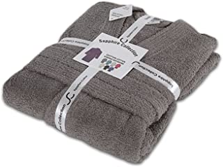 Sapphire Collection Mens/Ladies Unisex 100% Egyptian Cotton Terry Towelling Shawl Collar Dressing Gown Bathrobe (L/XL, Grey)