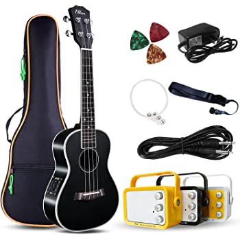 """Electric Concert Ukulele With Amp   23"""" Acoustic-Electric Ukulele Beginner Kit   This Electric Ukulele Kit Includes Everything Needed For A Beginner Ukulele Learner   Crafted From Spruce Mahogany"""