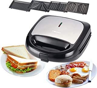 Belaco SM4-1-BEL 4 in 1, panini Press, Sandwich Toaster, Waffle Maker, Stainless Steel, 750 W