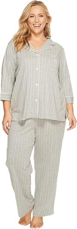 LAUREN Ralph Lauren - Plus Size Cotton Jersey Notch Collar PJ Set