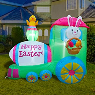 BLOWOUT FUN 5ft Long Inflatable Easter Decoration Bunny Train Happy Easter LED Blow Up Lighted Decor Indoor Outdoor Holida...