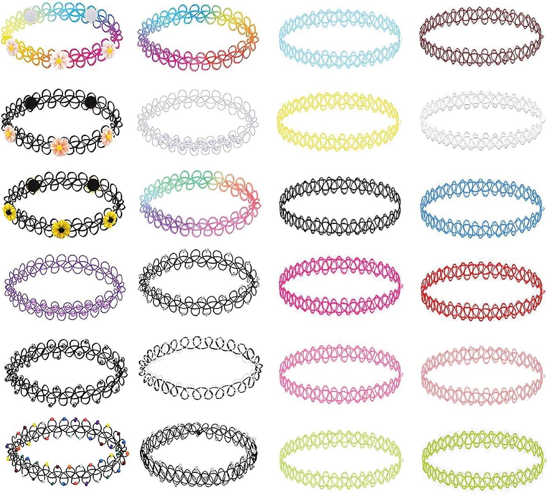 BodyJ4You 24PC Choker Necklace Set Henna Tattoo Stretch Elastic Jewelry Women Girl Gift Pack