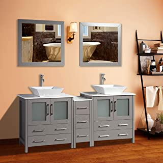 Vanity Art 72 inch Double Sink Bathroom Vanity Combo Set 7-Drawers, 2-Shelf, 3 Cabinet White Quartz Top and Ceramic Vessel Sink Bathroom Cabinet with Free Mirror - VA3130-72-G