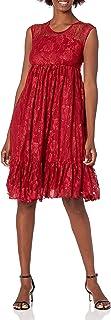 Lark & Ro Vestido de Encaje de Manga Media con Cuello Redondo Vestido para Ocaciones Especiales para Mujer