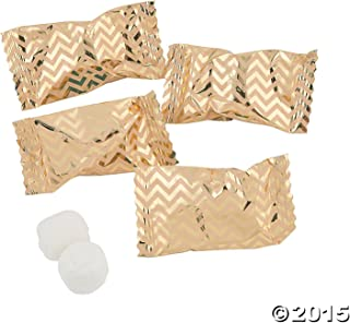 Gold Chevron Buttermint Candy (108 Individually wrapped mints) Wedding & Special Occasion