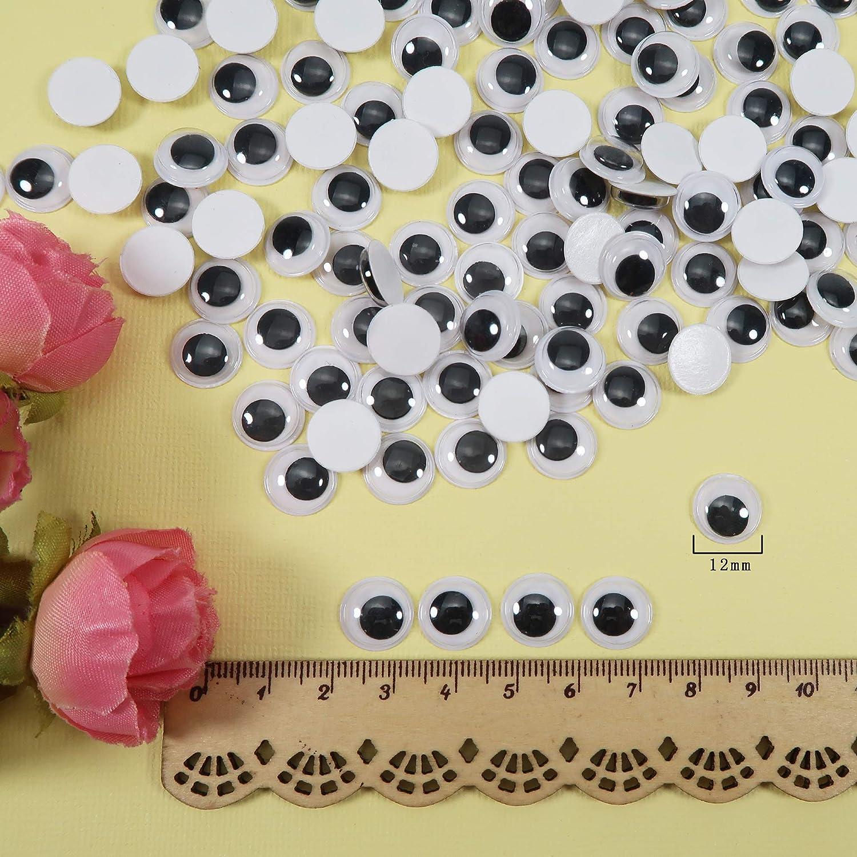 TOAOB 300 occhi autoadesivi rotondi neri bianchi 12 mm plastica occhi per scrapbooking artigianato accessori