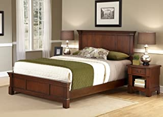 Aspen Rustic Cherry Queen Bed & Night Stand by Home Styles