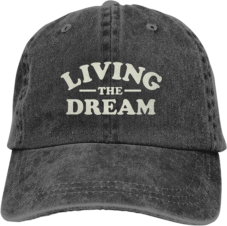 Living The Dream Baseball Cap, Adjustable Size Dad Hat, Vintage Baseball Hats for Men Woman