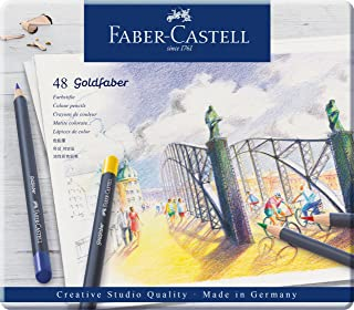 Faber-Castell Vibrant Goldfaber Color Pencils, Assorted – Tin of 48, (18-114748)