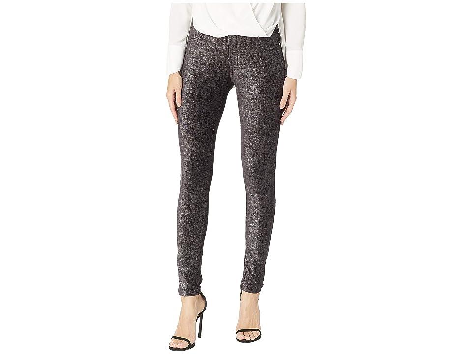 MICHAEL Michael Kors Foil Cord Pull-On Leggings (Black/Silver) Women