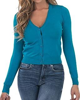 Nolabel Women's Botton Down Long Sleeve Deep V Neck Kint Cropped Cardigan Sweater (Plus Size)