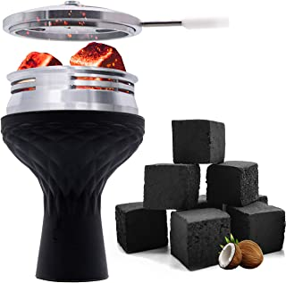 VeeBoost Hookah Bowl 72 Coconut Coals Set, Head Heat Management Shisha Silicone Phunnel Type with Charcoal Coal Cover Holder Accessories
