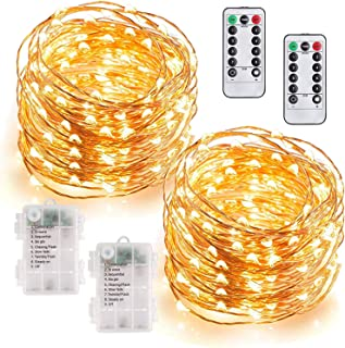MUMUXI 2 Pack 33Ft 100 LED Fairy Lights Battery Operated, String Lights with 8 Modes Remote Control Timer Waterproof Coppe...