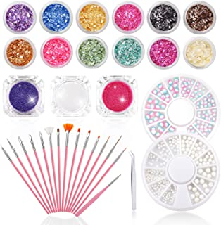 33PCS Nail Art Kit - 15 PCS Nail Brushes & 12 Pots Irregular Sea Shell Flakes & 3 Pots Laser Neon Mirror Power Tape & 2 boxes Unicorn and White Perals, Professional Nail Artist Collection by Phogary