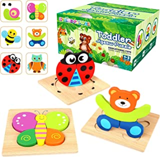 Springflower Wooden Jigsaw Puzzles For Toddlers-Including 6 Animal Puzzles & 6 Cognitive Cards, Early Educational Toys for Kids, Boys, and Girls 2 3 Years Old