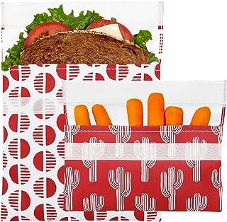 Lunchskins Reusable 2 Piece Food Storage Bag Set, 1 Sandwich Bag + 1 Snack Bag, Red Desert