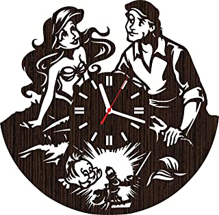 Wooden Wall Clock The Little Mermaid Gifts for Fans Women Girls Princess Ariel and Prince eric Wedding Toys Decorations Bedding Baby Room Decor Ursula Sebastian flounder Party Supplies Vinyl