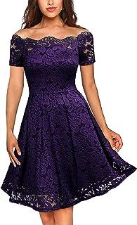 فستان حفلات كلاسيكي شبه رسمي للنساء من الدانتيل بنقشة الزهور باكمام قصيرة ورقبة مفتوحة للاكتاف من ميسماي