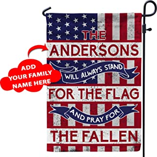 VTH Global Personalized Patriot Pride American Garden Flag Customized Custom Family Name USA Army for Veteran Military Soldiers Police Officers Firefighters (28x40)