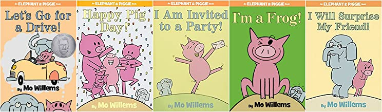 Elephant and Piggie by Mo Willems - 5 book paperback bundle set. I'm A Frog; Let's Go for a Drive; I Will Surprise My Friend; I Am Invited to a Party; Happy Pig Day. 5 book collection.