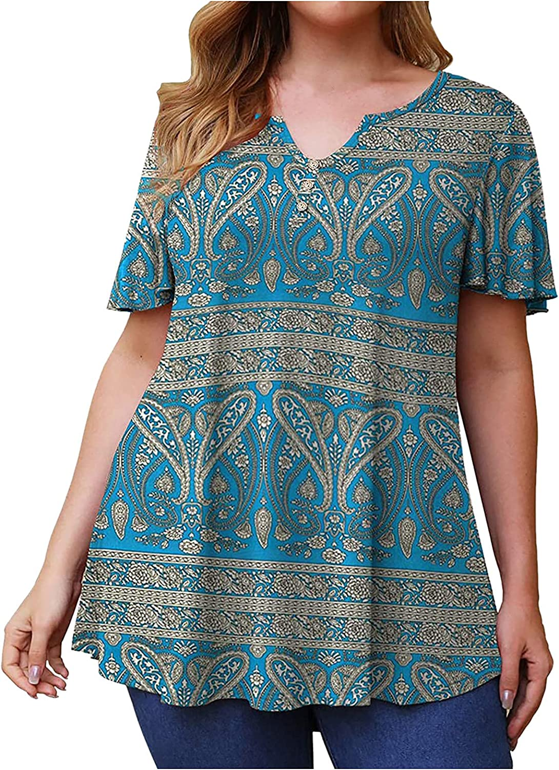 Womens Summer Indefinitely Tops Plus Size Women's Henley Nec V Seattle Mall Blouses Floral
