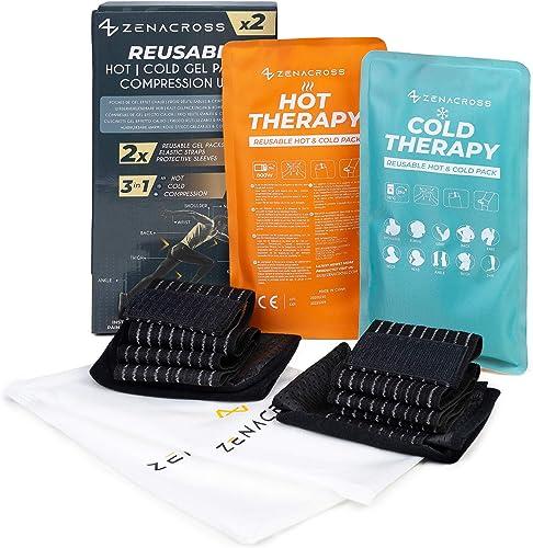2x Poche de Gel Réutilisables - Effet Chaud-Froid - Compresse Chaud Froid Ajustable - Adapté Micro Onde & Congelation...