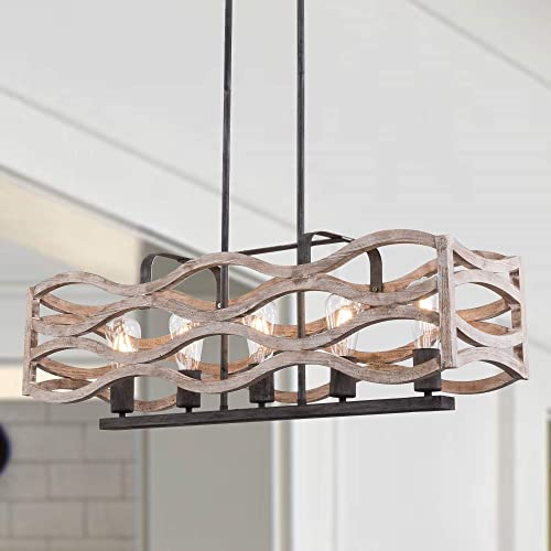 2021 Kitchen high quality Island Lighting, 5-Light Rustic Farmhouse Linear Chandelier, Pendant Light Fixture for Kitchen, Dining Room, Weathered outlet sale Wood sale